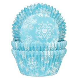 House of Marie HOM Baking Cups Sneeuwkristal Blauw pk/24