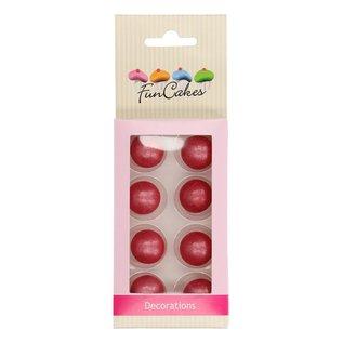 FunCakes FunCakes Pearl Choco Balls Dark Pink Set/8
