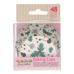 FunCakes FunCakes Baking Cups -Holly Leaf- pk/48