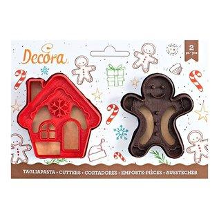 Decora Decora Gingerbread Man & Huis Uitsteker set/2