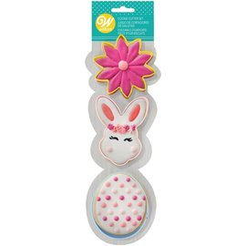 Wilton Wilton Cookie Cutter Set Flower/BunnyHead/Egg Set/3