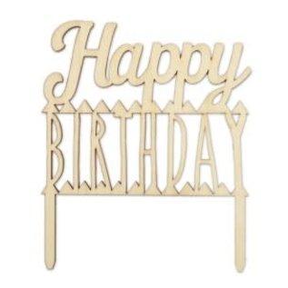ScrapCooking Scrapcooking Houten Taarttopper Happy Birthday