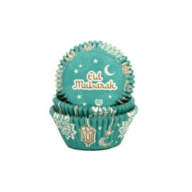 House of Marie House of Marie Baking Cups Eid Mubarak Blauw pk/24