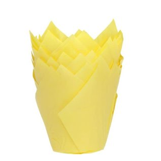 House of Marie HOM Muffin Cups Tulp Geel pk/36