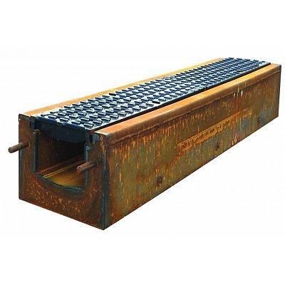 Diederen ExoDrain 150, zelfdragende Cortenstalen afvoergoten met betonvulling