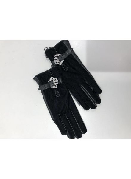 The Kooples Velvet leather gloves