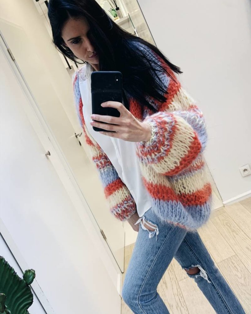 les Tricotsd'O Cardigan Yellow Coral Pastelblue