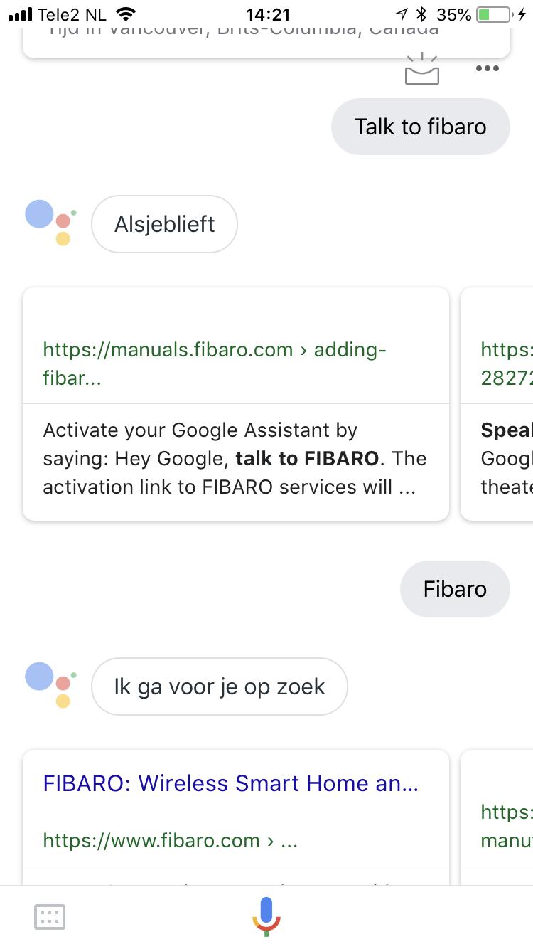 Home2Link | Fibaro met Google Assistant