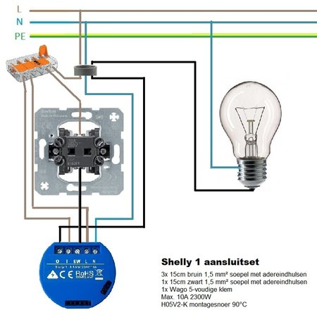 SHELLY Shelly 1 WiFi inbouw schakelaar