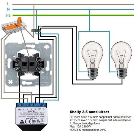 SHELLY Shelly 2.5 WiFi dubbele inbouw schakelaar