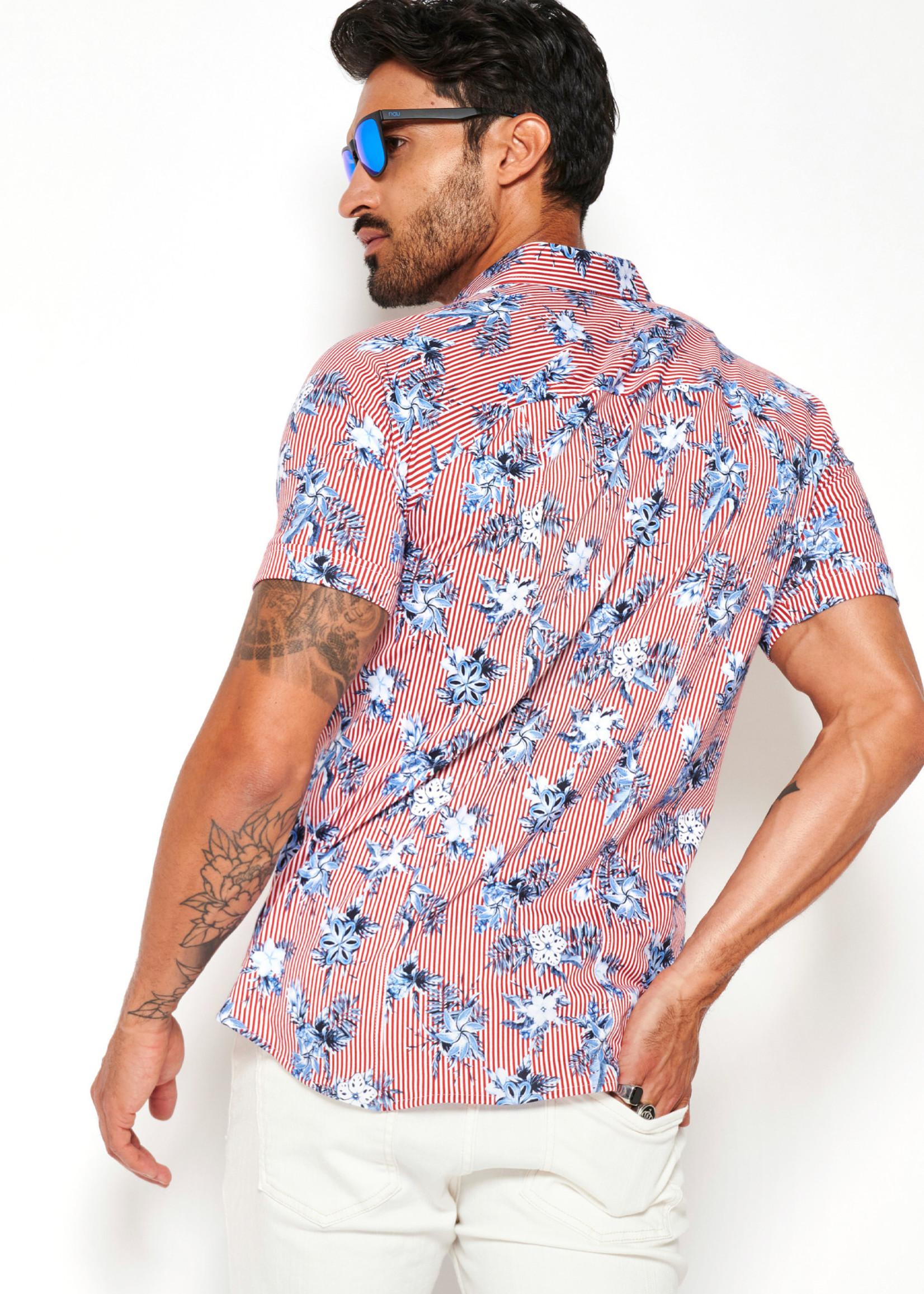 Desoto Modern Button Down  Shirt Korte Mouw  Red-Stripe Flowers