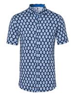 Desoto Desoto Modern Button Down  Shirt Korte Mouw  Navy-Blue Flowers