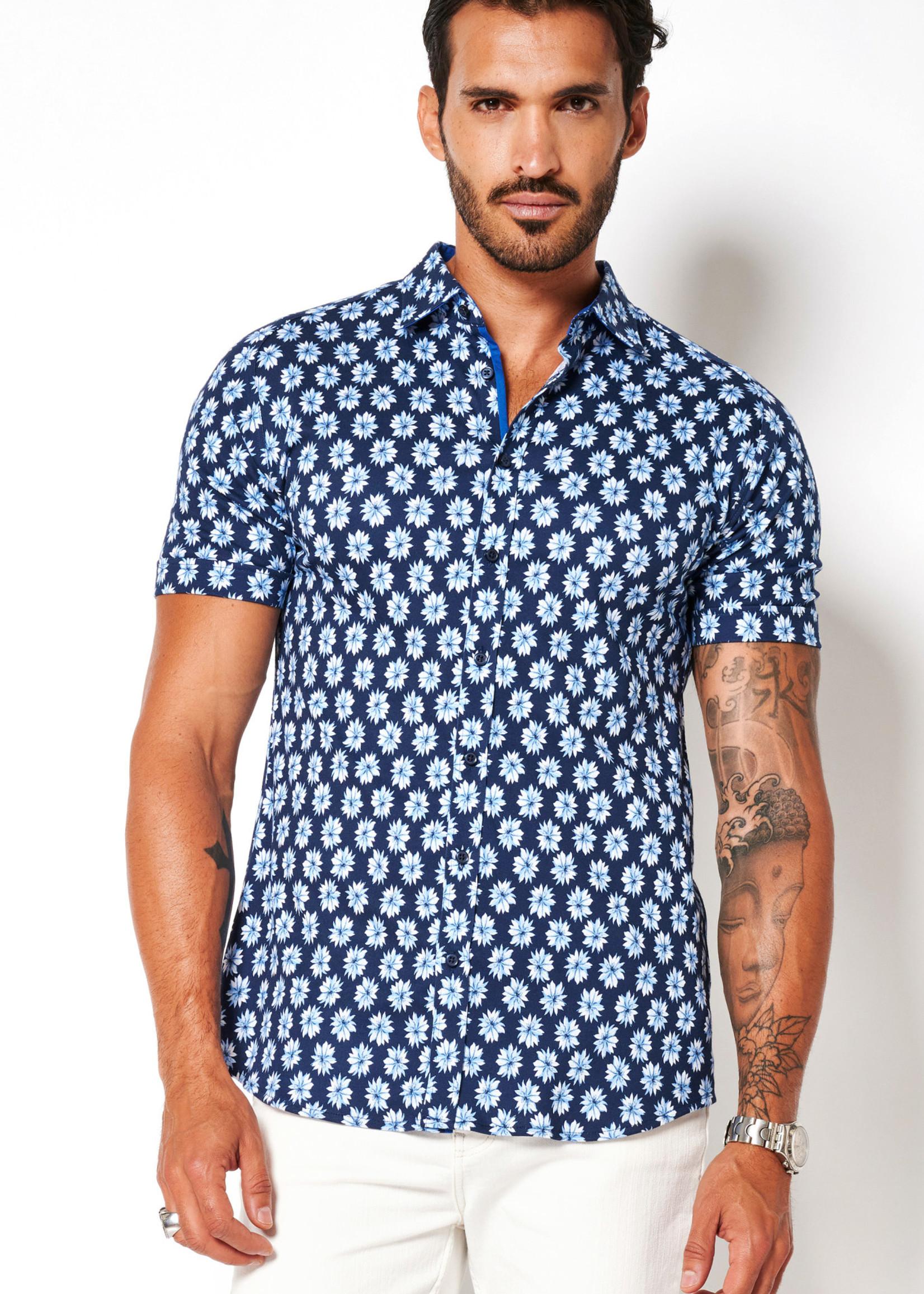 Desoto Modern Button Down  Shirt Korte Mouw  Navy-Blue Flowers