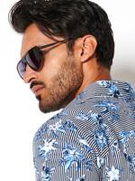 Desoto Desoto Modern Button Down  Shirt Korte Mouw  Blue-Stripe Flowers