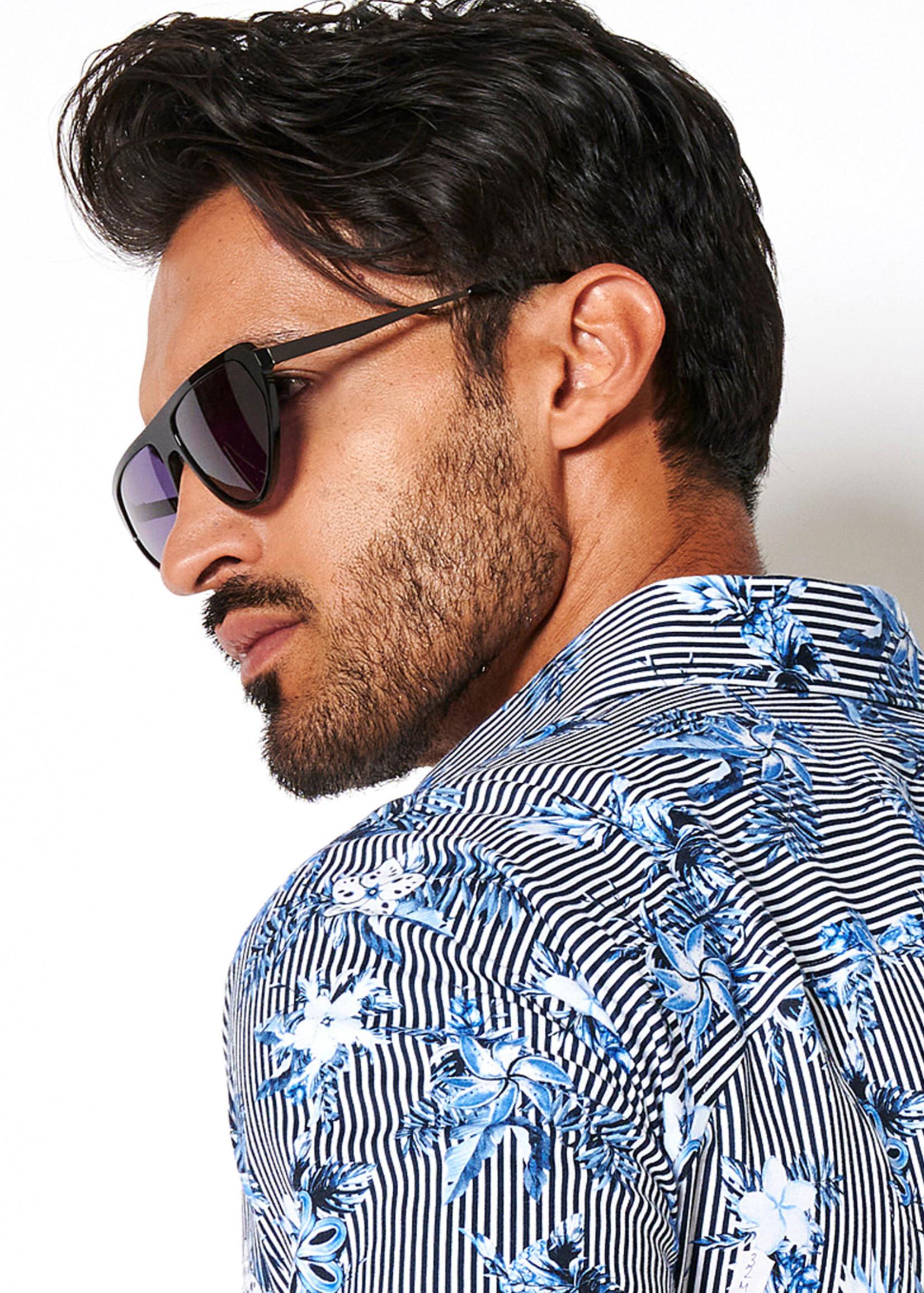 Desoto Modern Button Down  Shirt Korte Mouw  Blue-Stripe Flowers