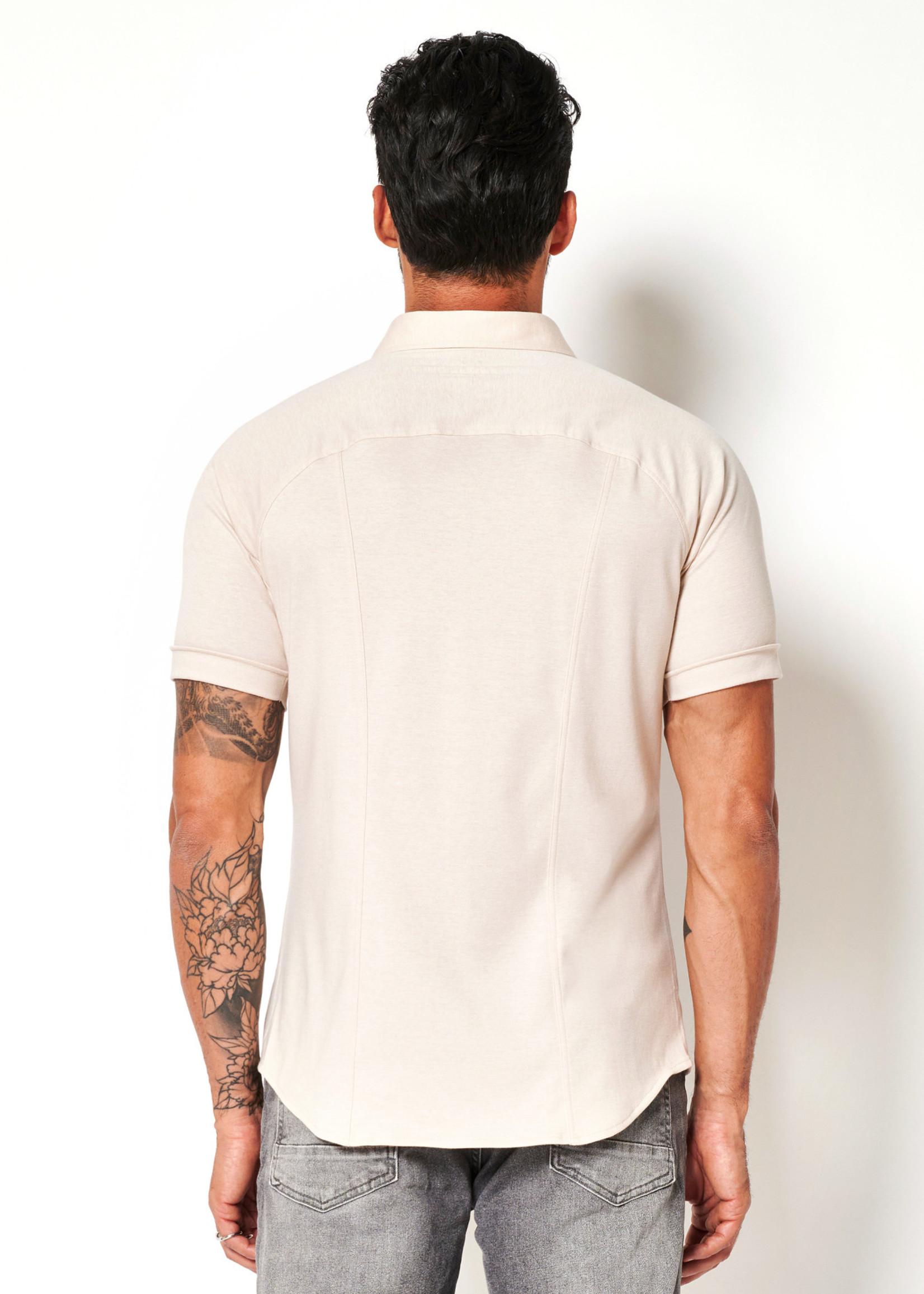 Desoto Modern Button Down  Shirt Korte Mouw  Beige