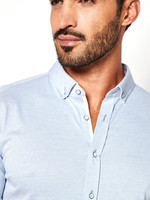 Desoto Desoto Modern Button Down  Shirt Korte Mouw  Light Blue Piqué