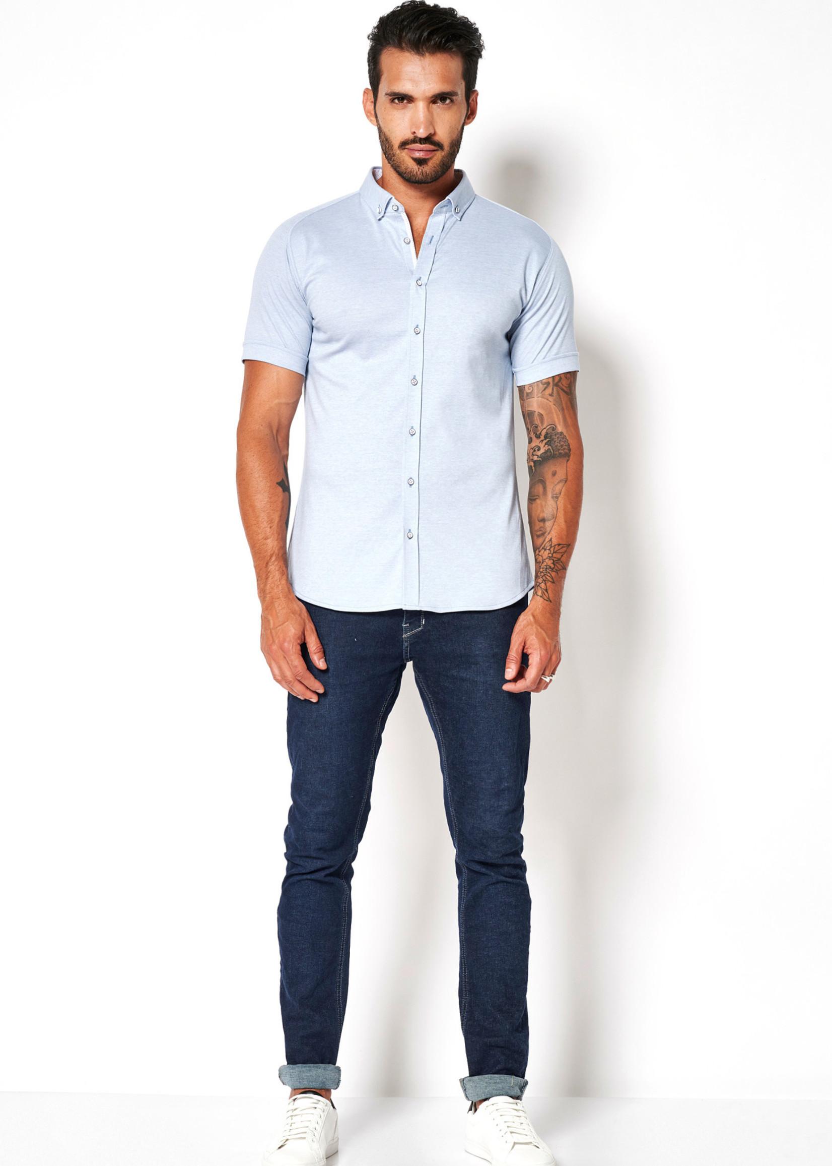 Desoto Modern Button Down  Shirt Korte Mouw  Light Blue Piquee