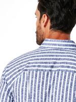 Desoto Desoto Overhemd Lange Mouw New Hai Blue Linen Stripe