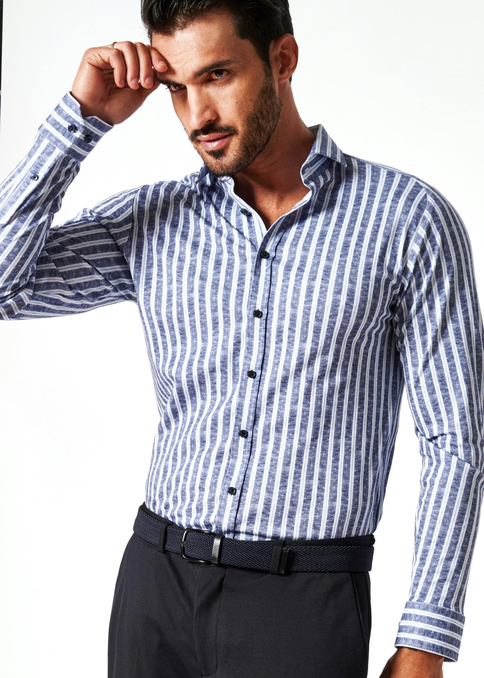 Desoto Overhemd Lange Mouw New Hai Blue Linen Stripe