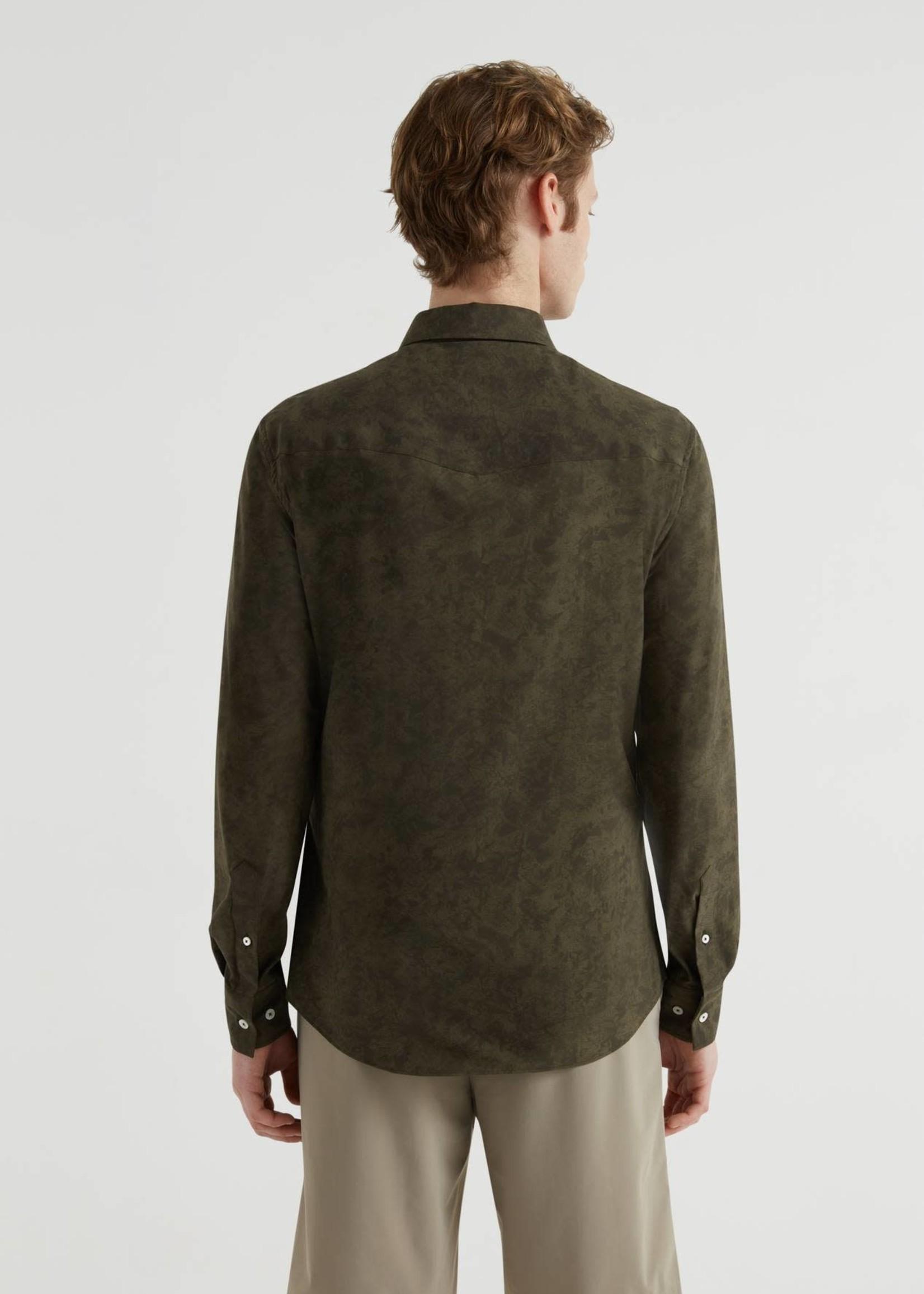 Traiano Groen Suede Look Flex Shirt