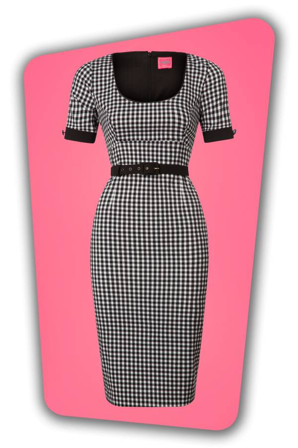 Annie Gingham Pencil Dress - Black and White