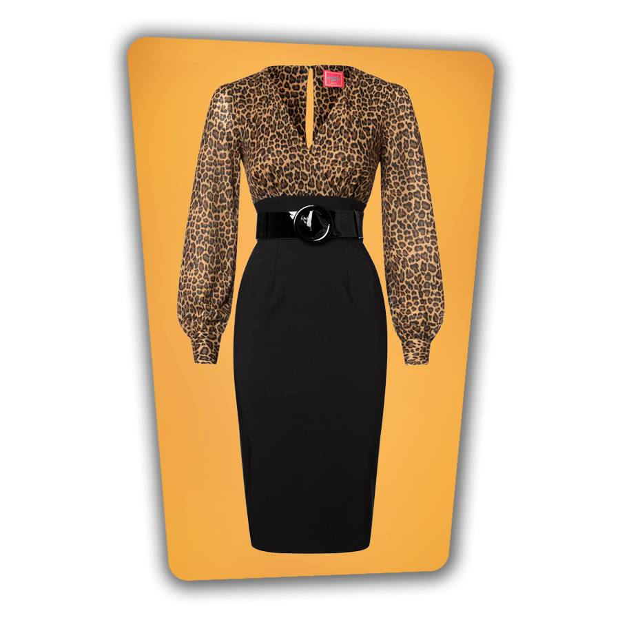 Margot Pencil Dress - Leopard and Black