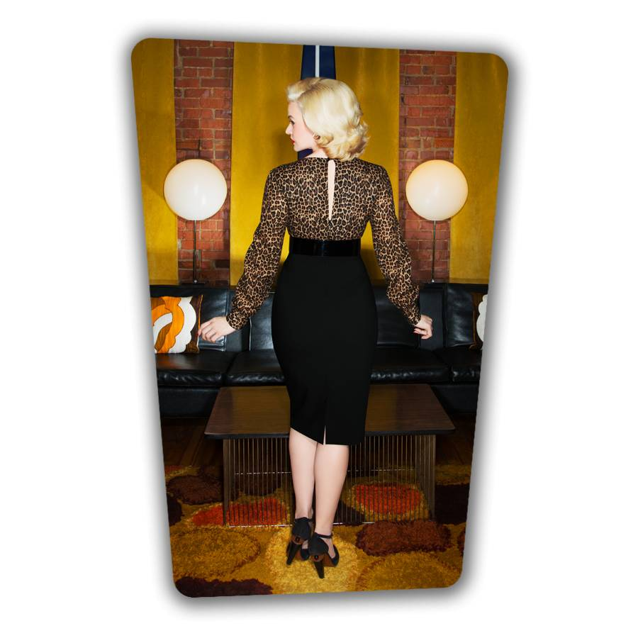 Margot Pencil Dress - Leopard and Black