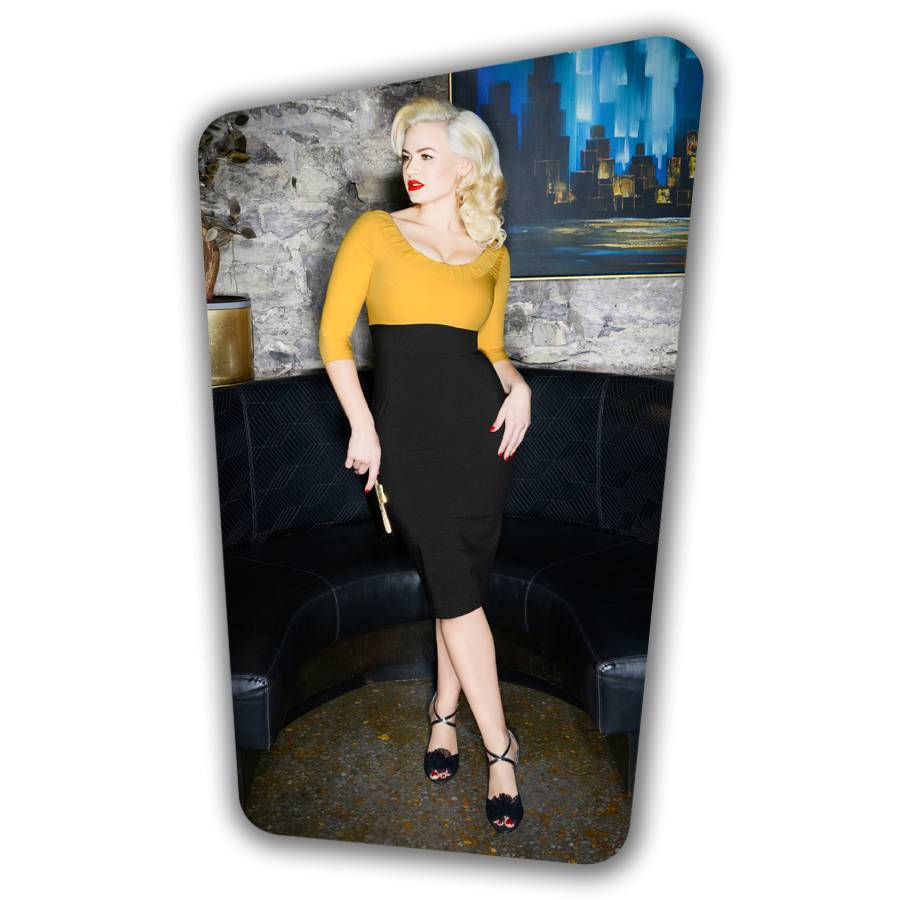 Christie Pencil Dress - Yellow and Black