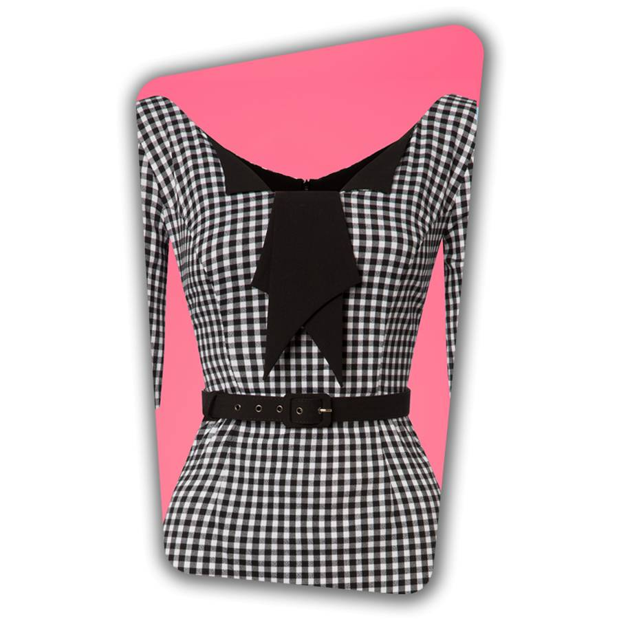 Jacky Pencil Dress - Black and White Gingham