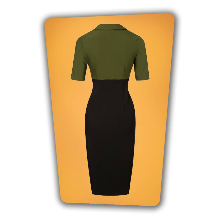 Lexy Pencil Dress - Green and Black