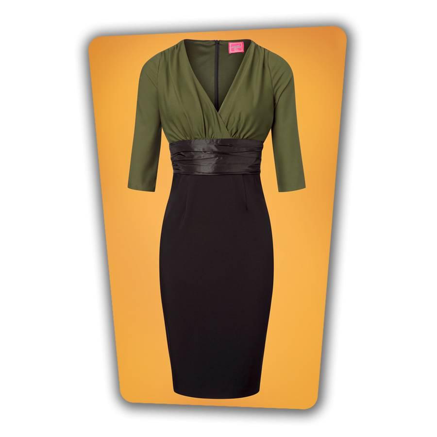 Sophia Pencil Dress - Green and Black