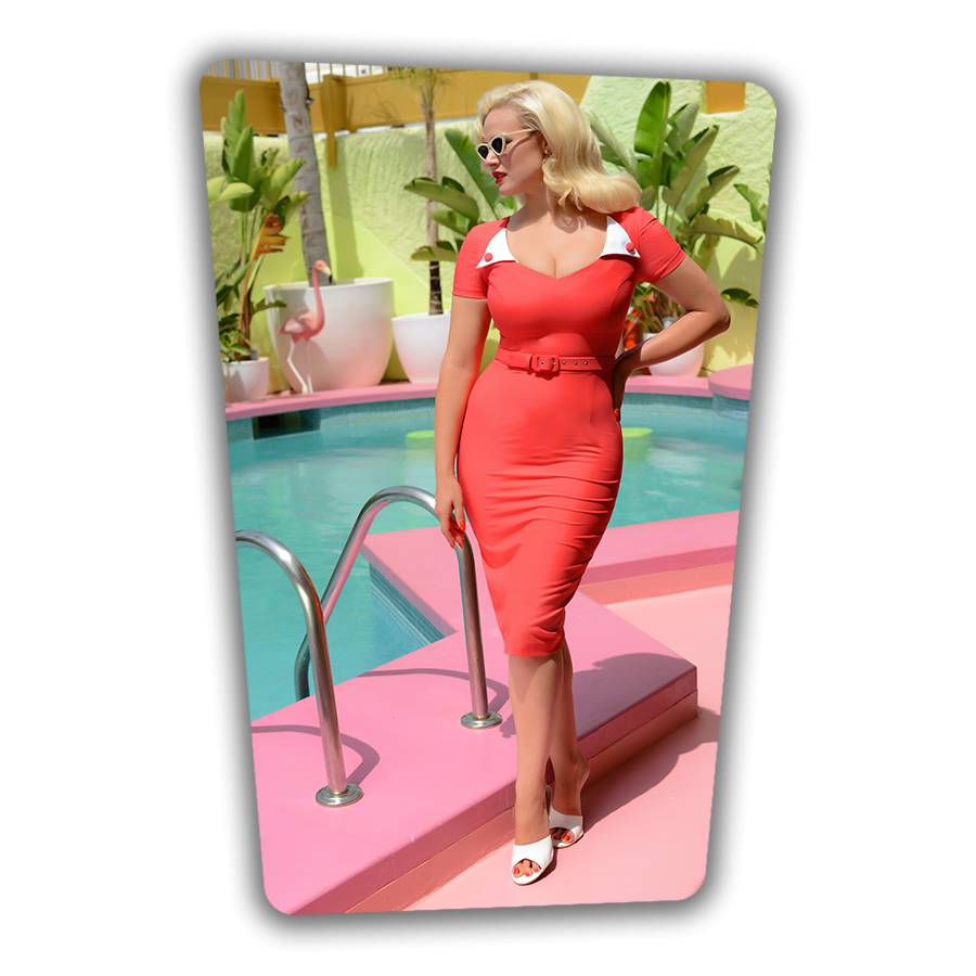 Jane Pencil Dress in Coral
