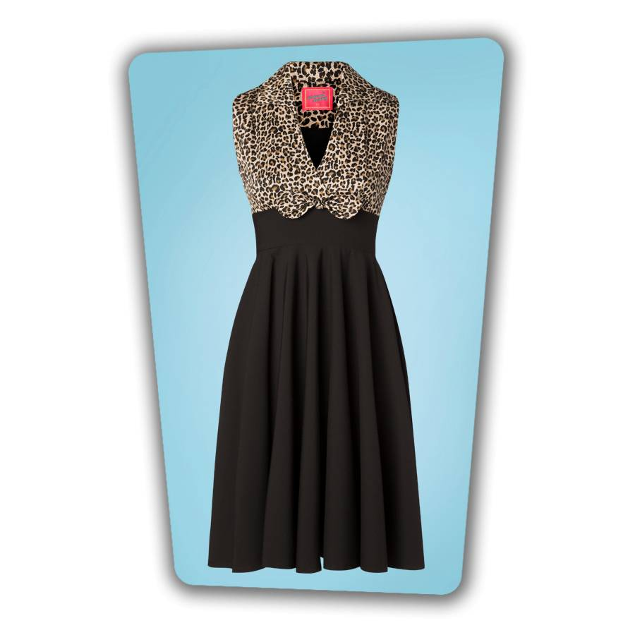 Rizzo Swing Dress in Leopard and Black