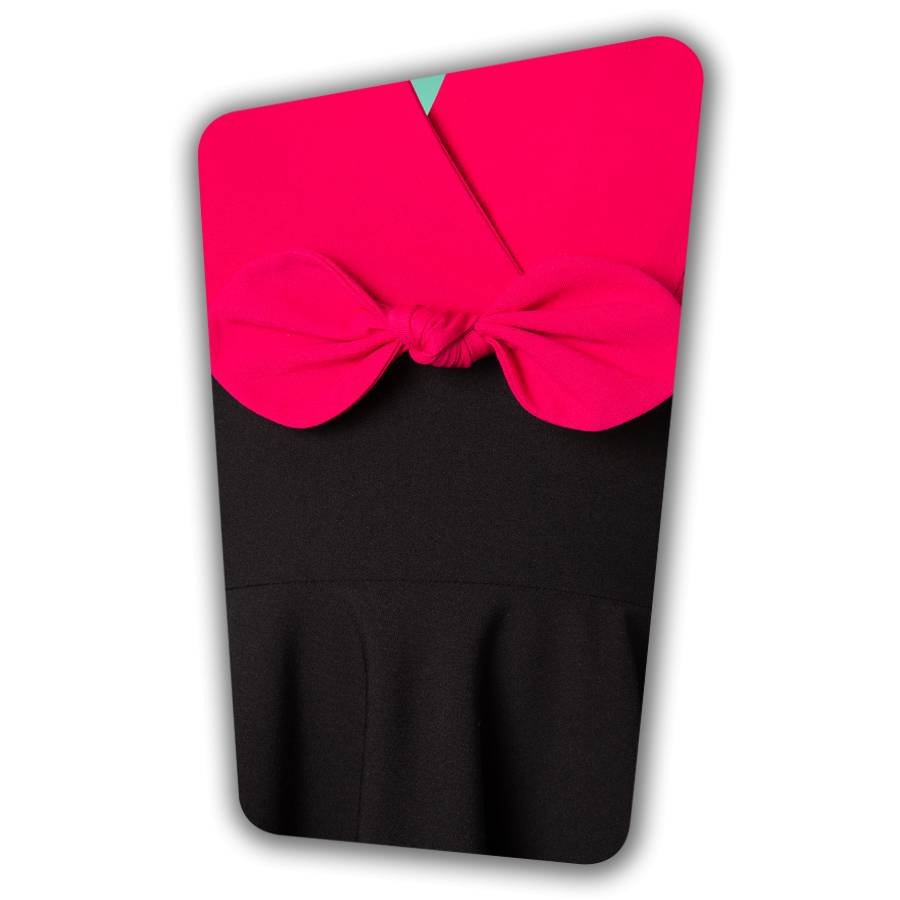 Rizzo Swing Dress in Hot Pink and Black