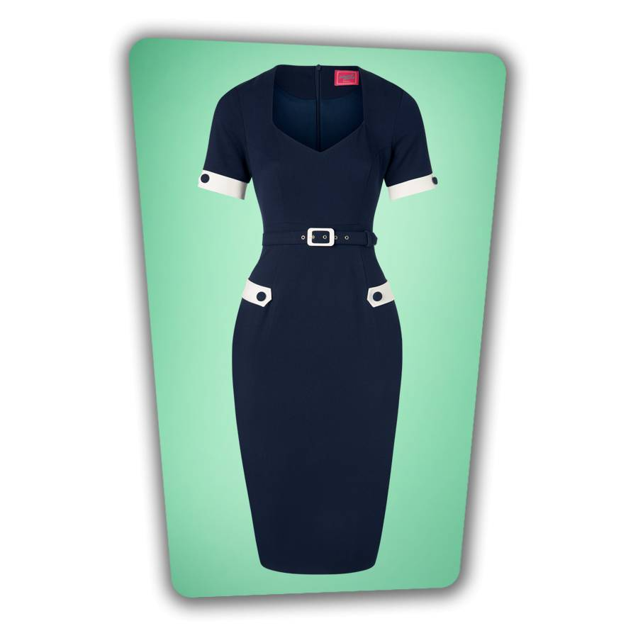 Doris Pencil Dress in Navy