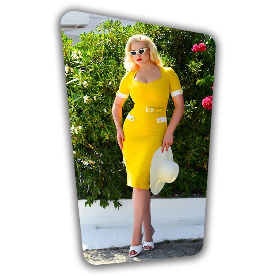 Doris Pencil Dress in Yellow