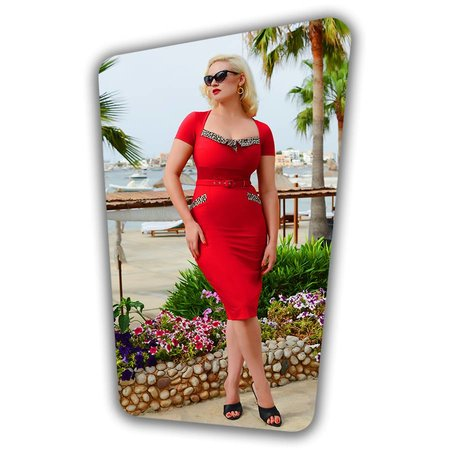 Ella Pencil Dress Red