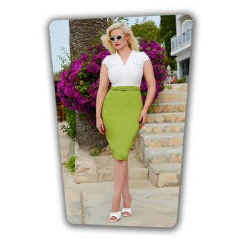 Lydia Pencil Dress White Green
