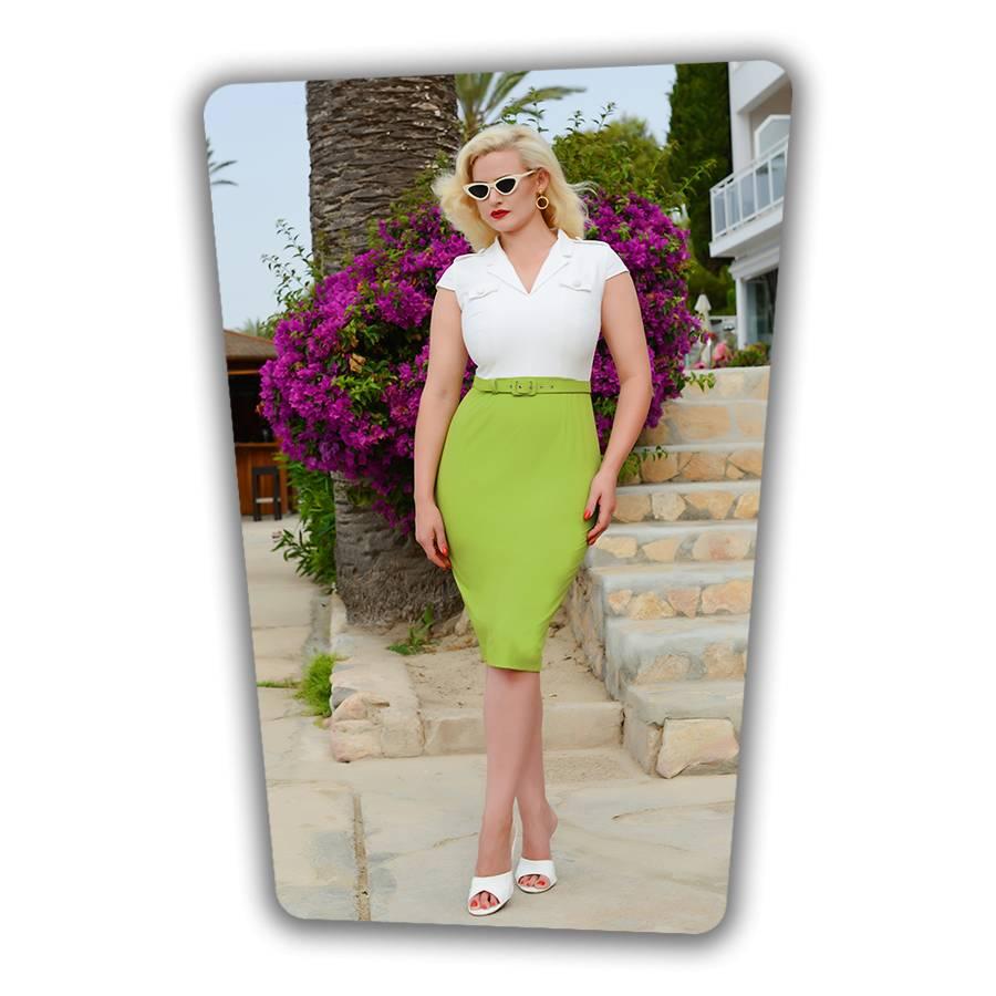 Lydia Pencil Dress White Green
