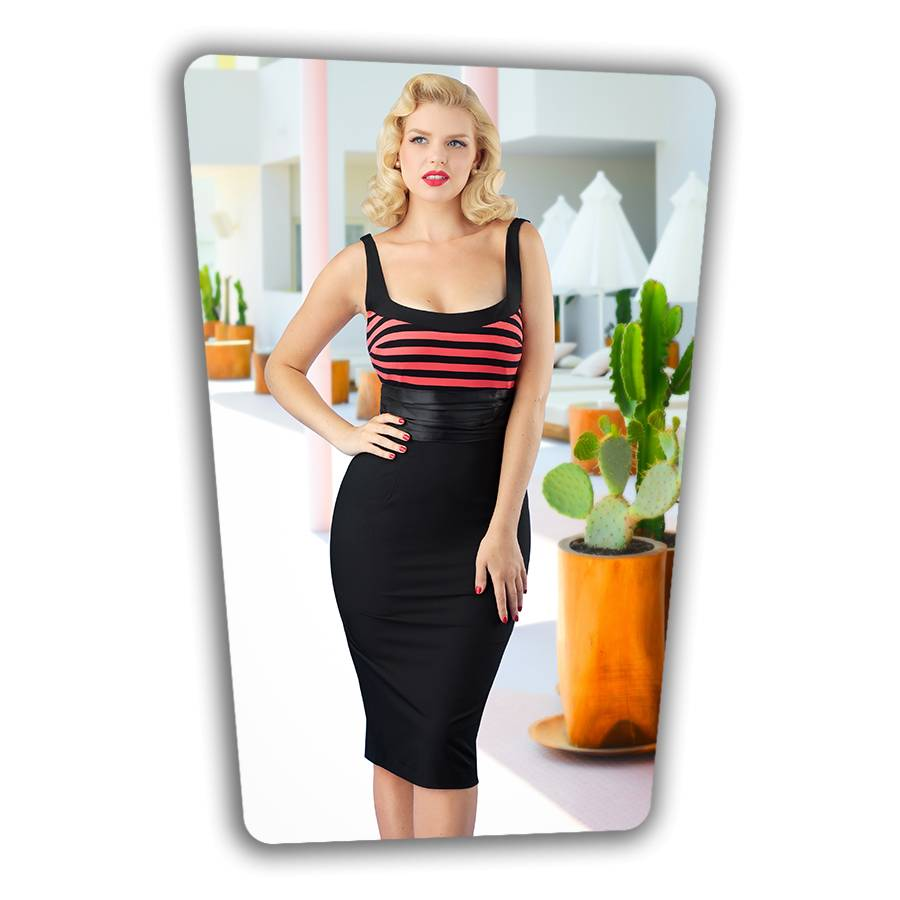 Didi Pencil Dress in Black  Pink Stripe