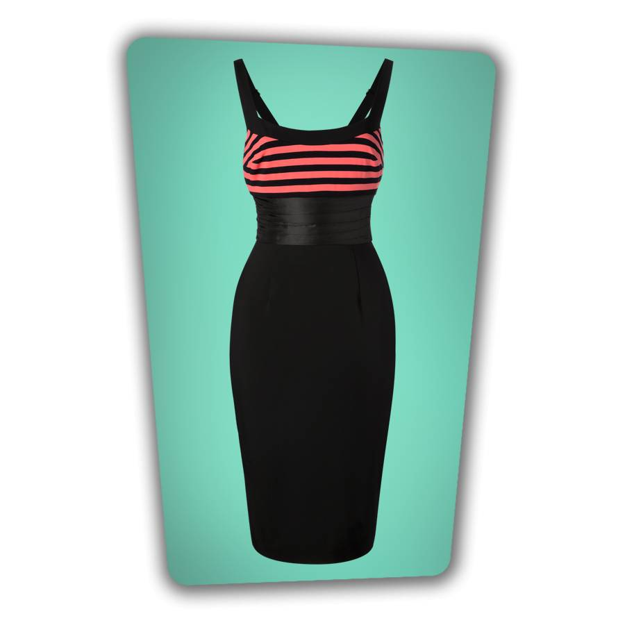 Didi Pencil Dress in Black  Pink Stripe