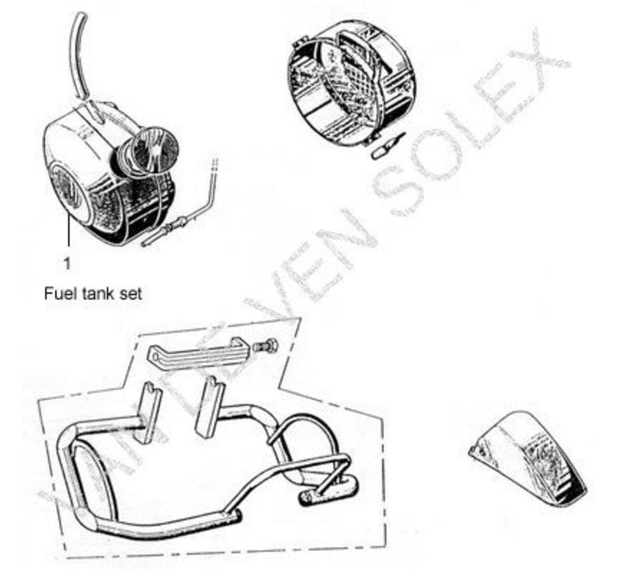 01. Kunststoff Kraftstofftank Solex komplett grau (mit Bügel)