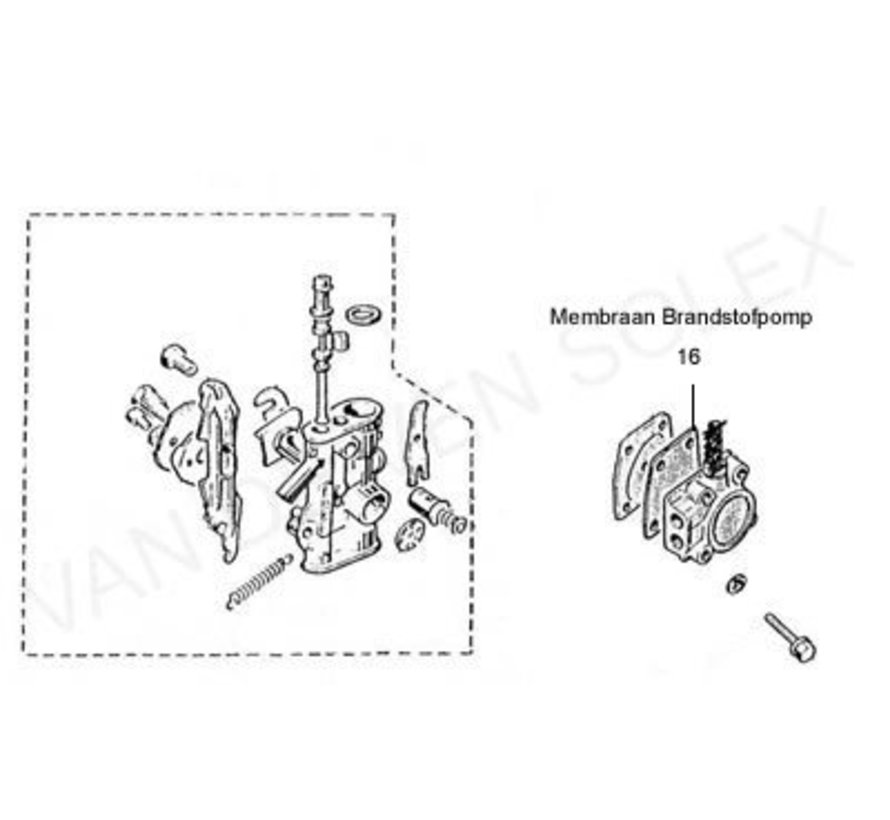 16. Membrane for fuel pump Solex for new kind petrol