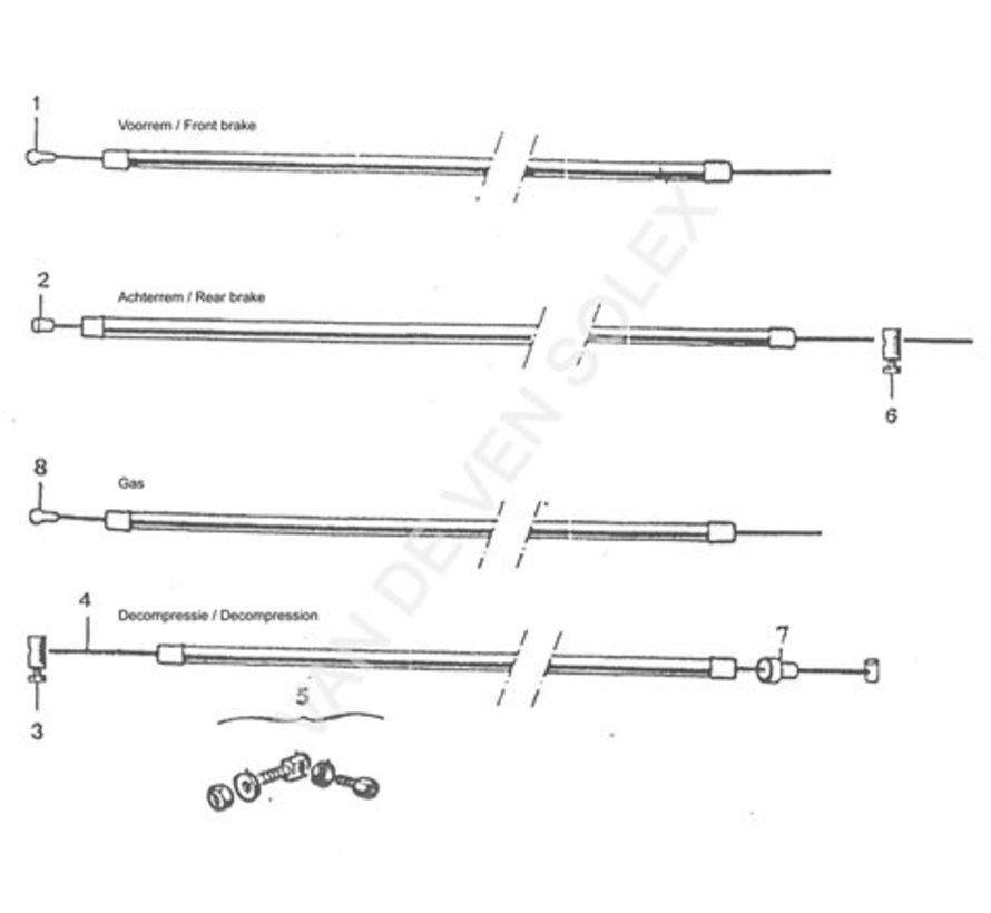 01. Front brake cable Solex (black) Length 1.25m