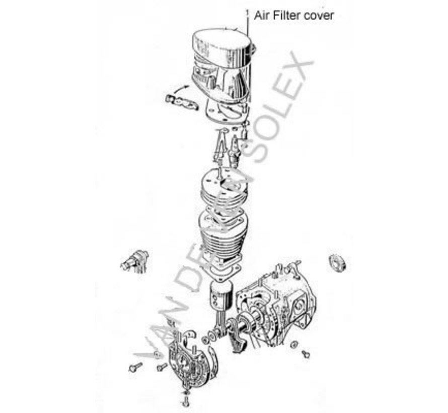 01. Luchtfilter deksel / filter cap incl originele sticker Solex