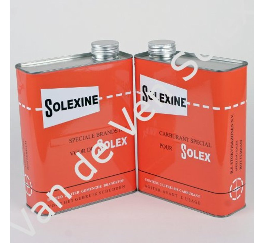 01. Blik voor reservebrandstof Solexine rood met nederlandse en franse tekst