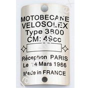 Type plaatje motobecane velosolex 3800