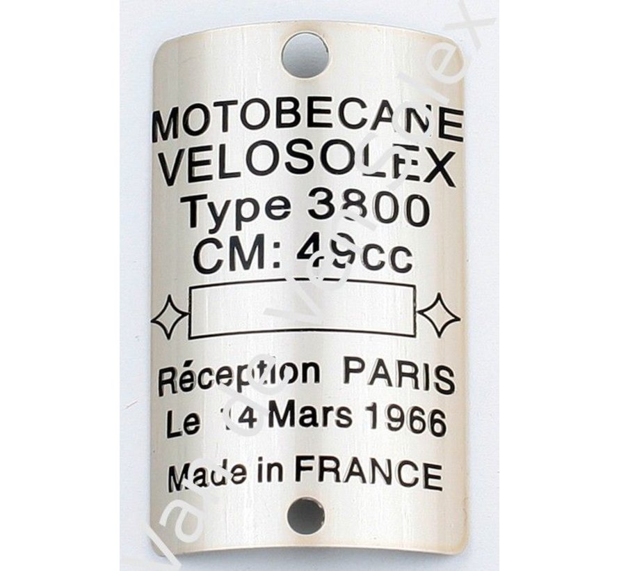 Typenschild Motobecane Velosolex Moped 3800