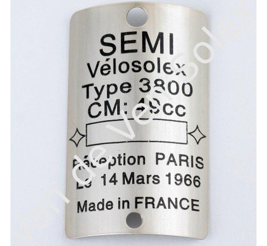 Type plate Solex 3800 semi